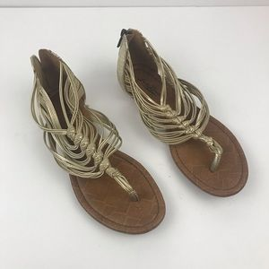 Lucky Brand Cyrus Gold Strappy Sandals Sz 9